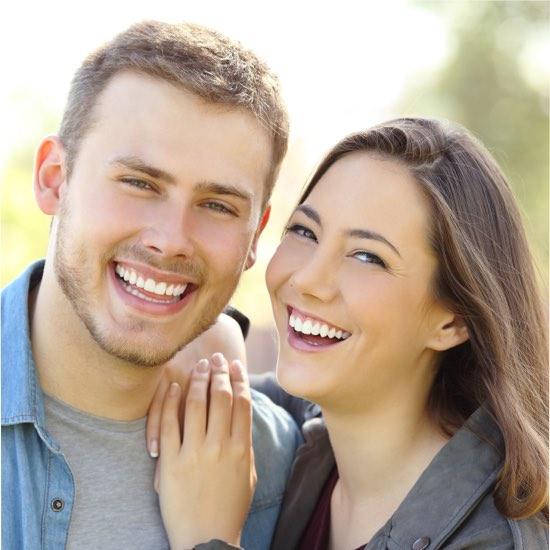 happy couple nice teeth